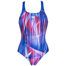 arena Shading Prism Swim Pro Back Jednoczęściowy strój kąpielowy Kobiety, neon blue/multi